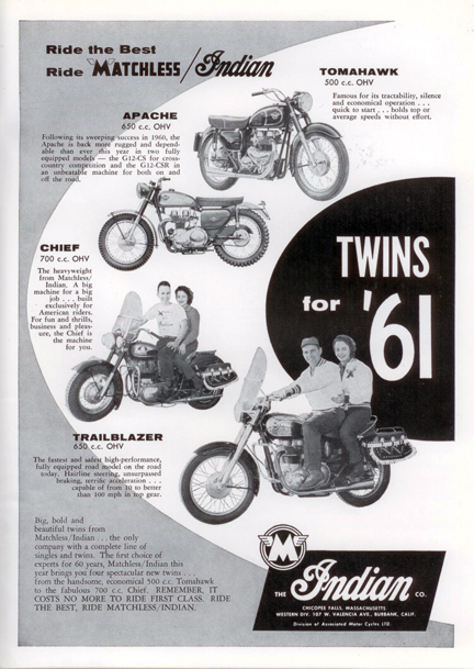 Matchless Indian Twins for 1961 ad