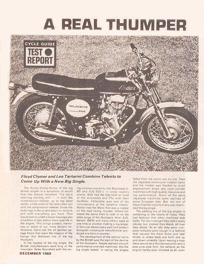 Indian Velocette magazine article page1A