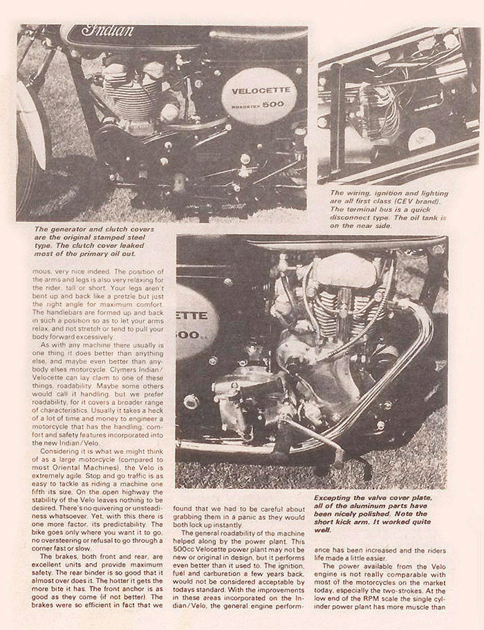 Indian Velocette magazine article p.2A