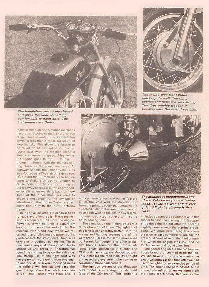 Indian Velocette magazine article p 2B