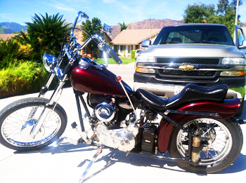 1947 dark burgundy chopper w HD forks
