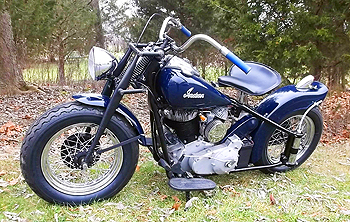 1948 dark blue bobber L front autumn leafs