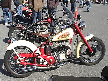 cream and red scout bobber at Oley