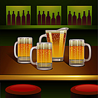 Beer pitcher and mugs